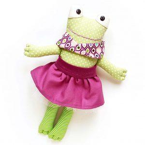 béka játékfigura szoknyában, sállal - öltöztethető