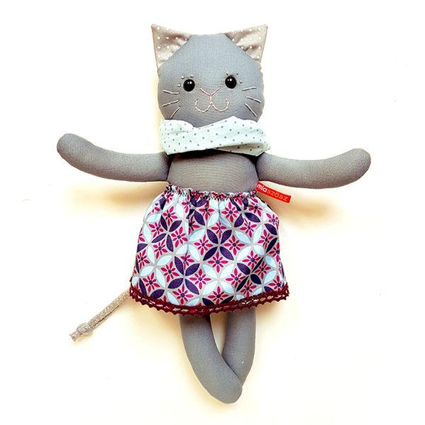textiljáték cica miaszösz